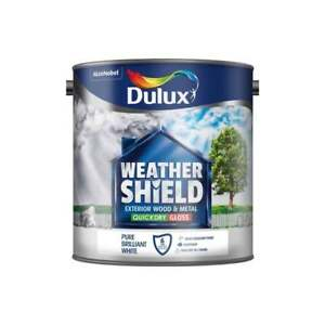 Dulux Weathershield Quick Dry Exterior Gloss Pure Brilliant White Various Sizes