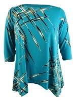 Alfani Women's Plus Size Printed Handkerchief-Hem Top (0X, Blue Multi)