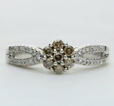 Diamond cluster ring gold white & champagne round brilliants .47CT floral size 9