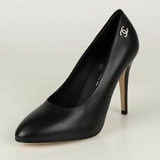 Authentic CHANEL Black Lambskin Leather HEELS PUMPS Shoes Sz 39 US 8