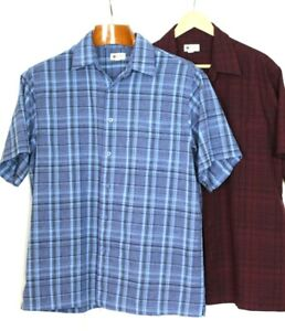 Haggar Cool 18 Tec Button Front Shirt London Blue Marl Side Stripes XXL NWT
