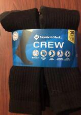MEMBERS MARK Comfort Men Athletic Socks CREW 30 Pair Size 6 - 12 - Cotton BLACK