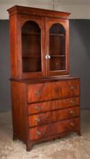 Sheraton style mahogany secretaire bookcase with glass doors, good fi. Lot 272