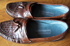 STACY ADAMS WEAVE LOAFERS TASSEL 9 M DRESS BROWN LEATHER SLIP ON  MENS SHOES