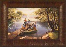 SUNFISHING by Ken Zylla Children Fishing Dock Lake Boat 11x15 FRAMED PICTURE ART