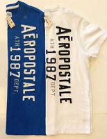 New Aeropostle Mens SS Graphic T-Shirt L Blue, White & M Blue NWT Sz. M, L or XL