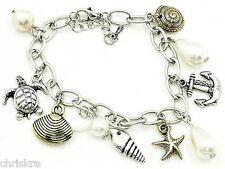 "Silver Beach Sea Life Charm Bracelet Pearl Shell Turtle 7-9"" Nautical Island"
