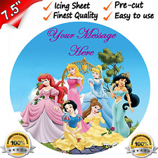 "DISNEY PRINCESS PERSONALISED Edible Icing Cake Topper 7.5"" Round Pre-cut"