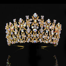 7cm High Large Gold Tiara Crown AB Clear Crystal Wedding Party Pageant Prom