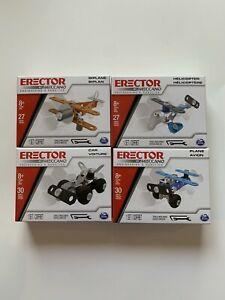 Lot Of (4) Erector Model Kits by Meccano Plane Car Helicopter  Biplane New