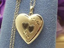 """Sterling Silver Double Love Heart Photo Picture Locket 18"""" Sterling Chain"""