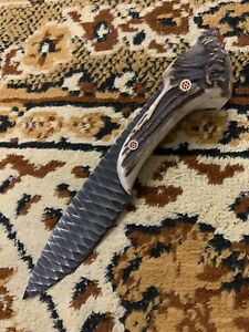 BEAUTIFUL CUSTOM HAND MADE 1095 BLACK STEEL FORGING HUNTING KNIFE.