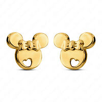 Push Back Disney Minnie Mouse Stud Earrings In 14k Yellow Gold Finish 925 Silver