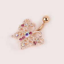New Rose Gold Butterfly Ball Button Barbell Belly Navel Ring Body Piercing