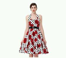 Grace Karin 1950's Rockabilly Swing Dress, Halter Neck, Floral, Sz. Lg.