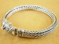 """New Woven Foxtail Wheat 925 Sterling Silver Bracelet Chain 5.5mm 7.5"""" 45g"""