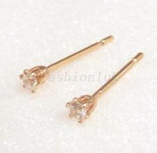 Men Kids 18K Gold Plated Simulated Diamond Tiny Small 2mm Trainer Stud Earrings
