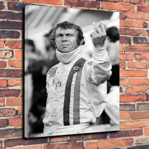 Steve McQueen Two Fingers Up Printed Canvas Picture Multiple Sizes 30mm Deep