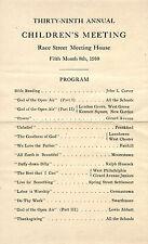 1910 Quaker Children's Meeting program - Race Street Meeting House, Philadelphia