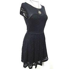 Black Mesh Lace Studded Skater Dress 8 Goth Rock Emo Whitby Heavy Metal Festival