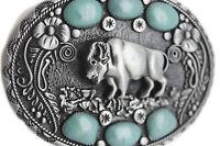 Belt Buckle Men Women Silver Metal Western Fashion Buffalo Bull Turquoise Blue