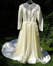 Vintage~Antique Satin Long Train Wedding Dress Gown Stunning Pearls Small Nice