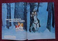 1982 Print Ad Marlboro Man Cigarettes ~ Western Cowboy & Horse Snow Forest