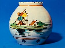 """Gouda Vase Royal Zuid Holland signed BB 2 1/2"""" tall Windmill & Boats on Water"""