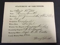 Civil War Soldier's Statement Of Volunteer-April 12, 1865-Henry Smith