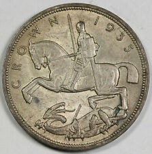 1935 UK GREAT BRITAIN Silver CROWN Coin AU/UNC KM#842 George V Edge Lettering