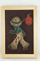 """Vtg Mid Century Runaway Bell Bottoms Wire and Nail Art Wall Hanging Large 9""""x13"""""""