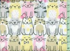 1/2 yard FLANNEL Chubby Cats Pink Yellow Black Gray on White  BTHY