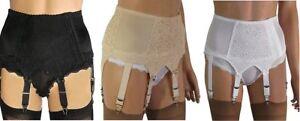Retro 6 & 8 Strap Luxury Suspender Belts with Lace Panels in Beige, Black, White