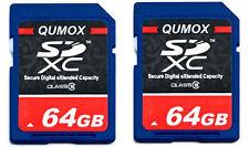 Lot of 2x 64GB = 128GB SD XC Class 10 Memory Card SDXC Ultra High Speed Camera