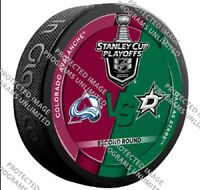 DALLAS STARS STANLEY CUP PLAYOFFS HOCKEY PUCK SECOND 2ND ROUND V. AVALANCHE
