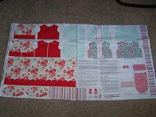 "RILEY BLAKE PRIMROSE GARDEN 18"" DOLL DRESS BOLERO APRON OUTFIT PANEL P4041 RED"