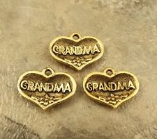 "3 Gold Tone Pewter ""Grandma"" in Heart Charms - 0512"