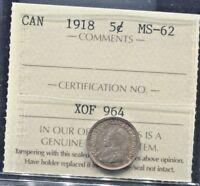 CANADA - FANTASTIC HISTORICAL GEORGE V SILVER 5 CENTS 1918, KM# 22