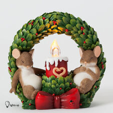 Charming Tails Dreams of Love Wreath Light Up Mouse Figure New Christmas 4041184