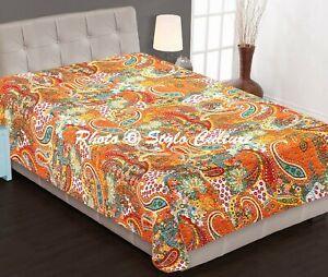 Cotton Kantha Quilt Bedding Reversible Handmade Bedspread Indian Throw Blanket