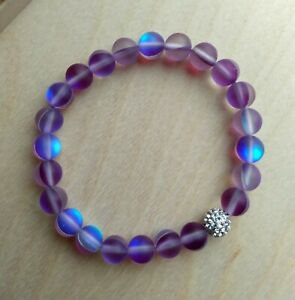 Enchanted Purple Mystic Mermaid Glass Friendship Bracelet with 8 mm Beads