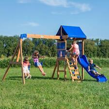 Outdoor Wooden Cedar Playground Swing Play Set Backyard Kids Toddler Children