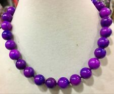 "Fashion Natural 12mm Round Purple Sugilite Gemstone Beads Necklaces 18"" AAA"