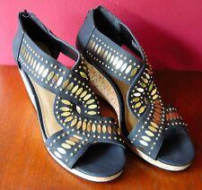 KG By Kurt Geiger Paula Black Summer Wedge Heel Peep Toe Sandals EUR 39, UK 6