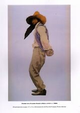"""MAXFIELD PARRISH BOOK PRINT """"FARMER WITH CLASPED HANDS"""" LONG BLACK BEARD HAT"""