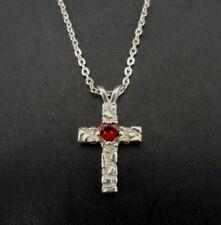 Cross Sterling Silver 925 Pendant Necklace Red Heart Stone Rock Look Dainty