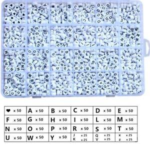 1200 Acrylic Alphabet Beads Flat White/Black Set/Kit Boxed All Letters 7x4mm