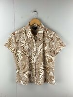 Katies Women's Short Sleeve Button Up Shirt Top Size 14 Brown Floral