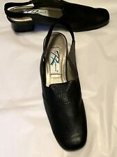 """Ros Hommerson Women's Shoes Black Leather Slingback 2"""" Heel Size 10S Narrow"""