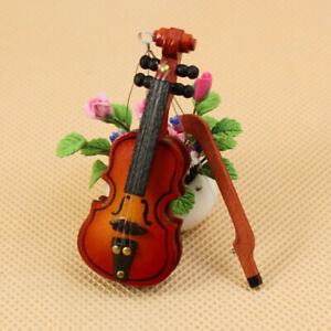 Dollhouse Violin Mini Wooden Instruments Miniature Fiddle Wooden Instrument^lk